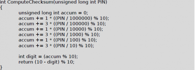 Calculate checksum